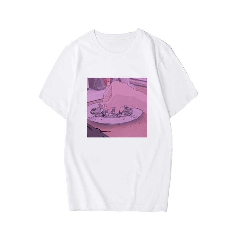 2019 NEUE Ankunft Traurig Anime Vaporwave Print t shirt Ästhetischen Japan Otaku mann der T-shirt Männlichen Casual Kurzarm Tops