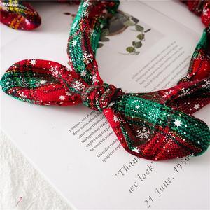 Image 4 - FRIGG Christmas Grid Headband Merry Christmas Decor For Home Christmas Ornament Natal Happy New Year 2021 Xmas Gift Navidad Noel
