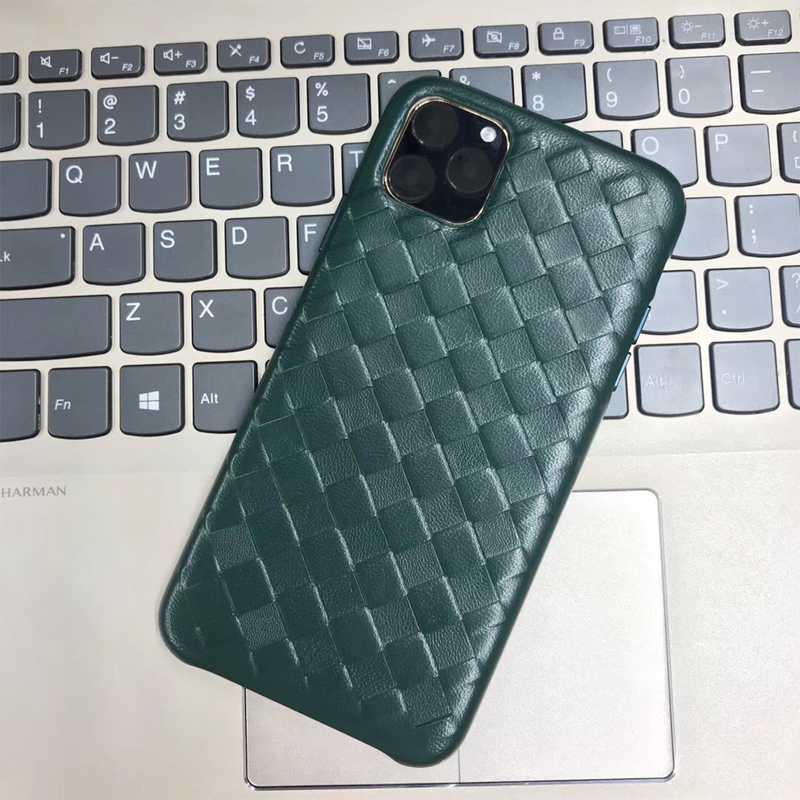 Fashion Woven Pattern Genuine Leather Case For Apple iPhone 11 Pro Max Luxury Soft Good Touch Cover For iPhone 11/ Pro/ Max CaseFitted Cases   -