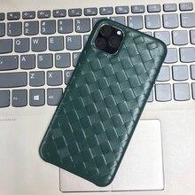 Étui en cuir véritable motif tissé à la mode pour Apple iPhone 11 Pro Max luxe doux bon toucher couverture pour iPhone 11/ Pro/ Max étui