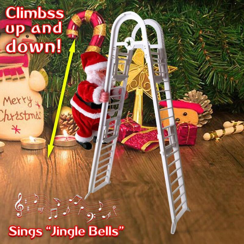 Christmas Home Decor Singing Climbing Stairs Santa Doll Plush Music Toy Funny Electronic Climbing Toys Christmas Gifts For Kids