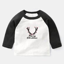 T-Shirts Tops Long-Sleeve Girls Baby Boys Cotton Tee Antler Gift Reindeer Merry-Christmas