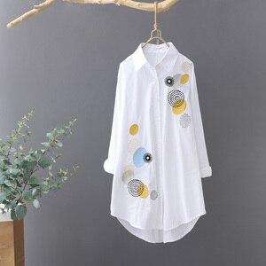 2020 letnie nowe bawełniane koszule damskie haft solidny biały długa luźna casual wszystkie mecze koszule damskie znosić płaszcz topy