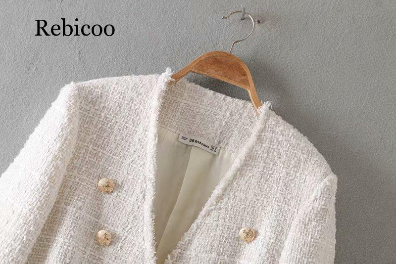 Women 39 s elegant white coat double breasted V neck button jacket office women 39 s casual jacket in Jackets from Women 39 s Clothing