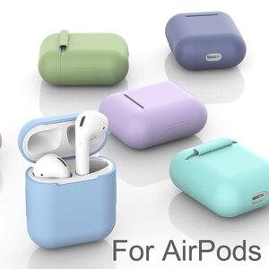 Image 1 - Силиконовый чехол Защитный чехол для Apple AirPods TPU Bluetooth наушники Мягкий силиконовый чехол для Air Pods 2 чехол s