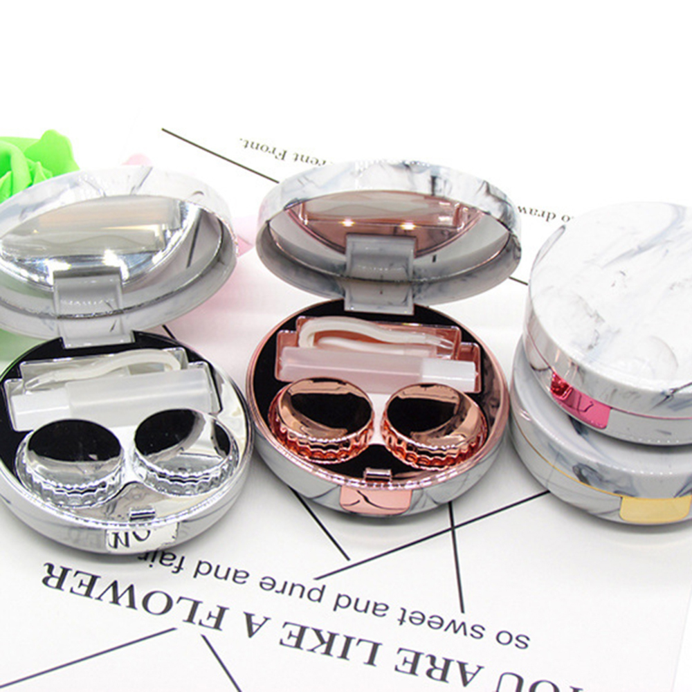 1Pcs Unisex Marble Stripe Lens Container Round Mirror Cover Mini Plastic Colorful Reflective Travel Holder Container Storage in Refillable Bottles from Beauty Health