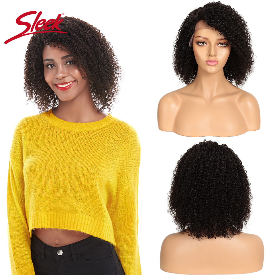 Sleek Lace Front Human Hair Wigs Kinky Curl 12 Inch Short Human Hair Wigs 150% Density Left Part Lace Wigs For Women Rebecca