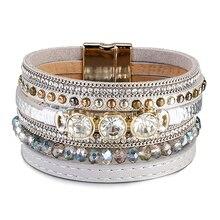 Amorcome Crystal Leather Bracelets for Women 2020 Fashion Bohemian Boho Charm Multilayer Wide Wrap Bracelet Female Jewelry