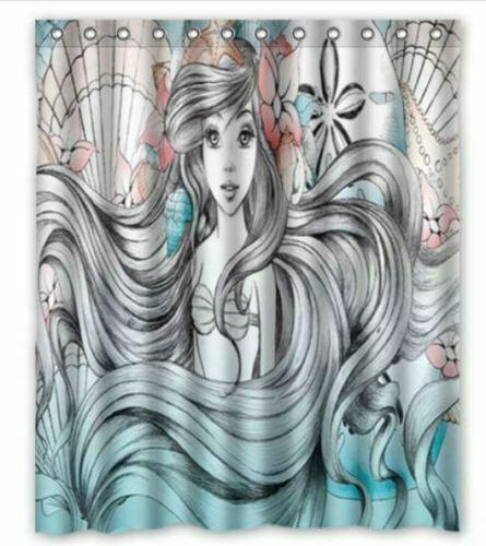 little mermaid custom bathroom fabric shower curtain