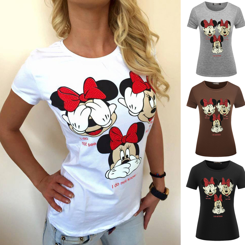 Funny Cartoon Mouse T-shirt Tops Women Fashion Tops 5 Color O Neck Women Clothes Clothing