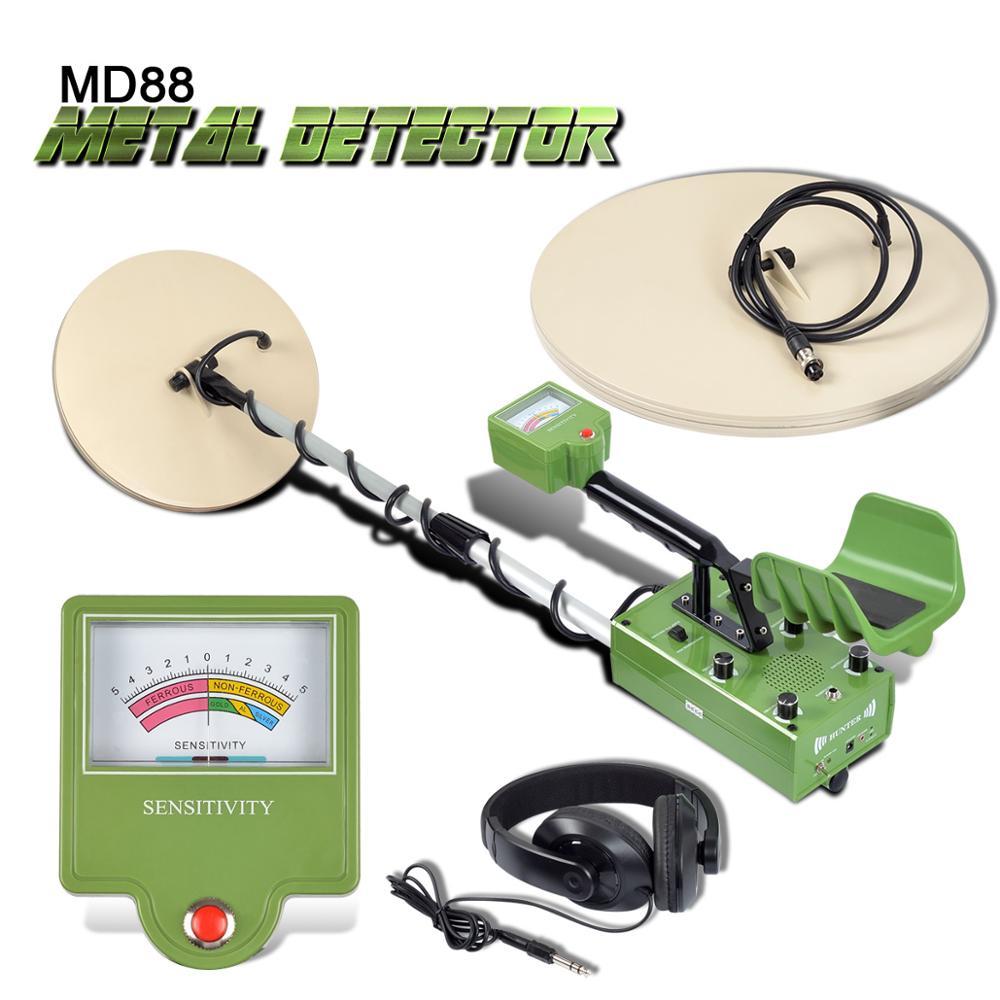 MD88 Busca Profissional Detector De Metal Underground Ouro Detector Treasure Hunter Display LCD Detectar Profundidade 5m 2 Fiação Bobinas