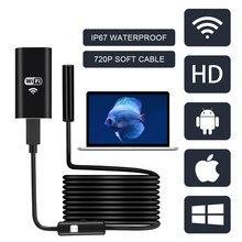 FUERS WIFI kamera endoskopowa HD 1200P/720P 8mm obiektyw bezprzewodowa wodoodporna Mini kamera inspekcyjna Android IOS telefon WIFI endoskop