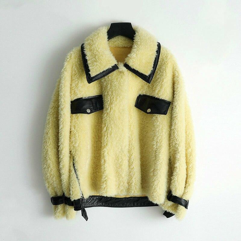 Real Fur Coat Korean Vintage Wool Jacket Autumn Winter Coat Women Clothes 2020 Women Tops Sheep Shearling Suede Lining ZT3519
