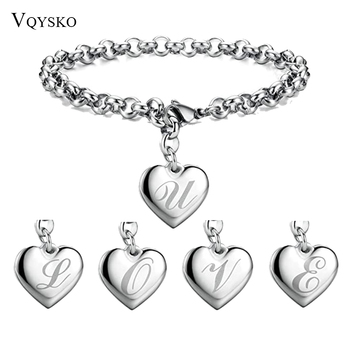 Fashion Summer Initial Charm Alphabet Bracelets Jewelry Stainless Steel Heart 26 Letters Link Bracelet for Women Gifts