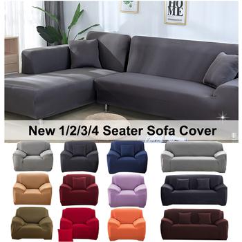 Elastyczny elastyczny pokrowiec na sofę 1 2 3 4 Seater Sof Slipcover poszewki na kanapę na uniwersalne sofy salon przekrój w kształcie litery L narzuty narzuta na sofe tanie i dobre opinie NoEnName_Null 1 Seater 2 Seater 3 Seater 4 Seater funda sofa Rozkładana okładka Plain Dyed Nowoczesne Stałe Sofa przekroju
