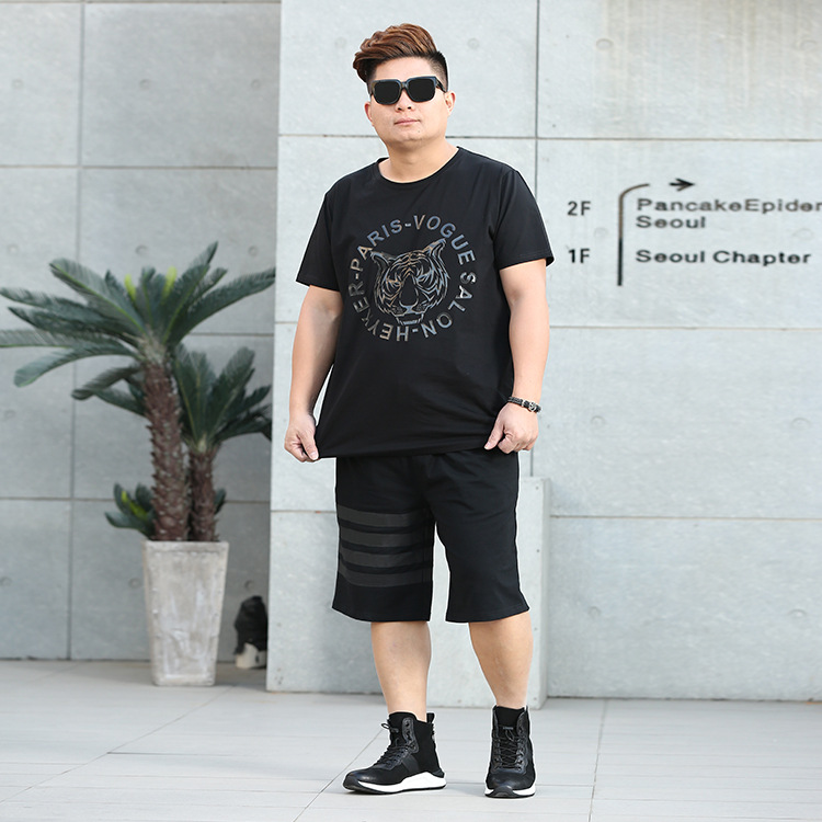 Summer Hot Selling Large Size Men'S Wear Casual Tiger Head Plus-sized MEN'S Suit Short Sleeve Large Size T-shirt MEN'S Pants