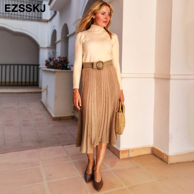 Vintage Winter Women thick sweater skirt Elastic High Waist Pleated Midi knitted Skirt A line female