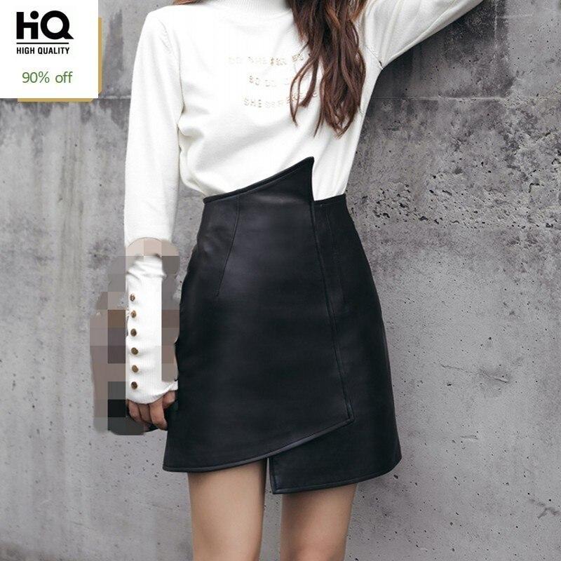 2020 New Fashion Solid Genuine Leather Mini Skirts Elegant Slim Fit Wrap Skirt Female High Waist A-Line Skirts Plus Size S-3XL