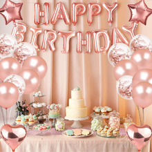 40pcs Rose Gold Latex Curtain Confetti Heart Foil Balloons Decor Love Happy Birthday Party Decoration