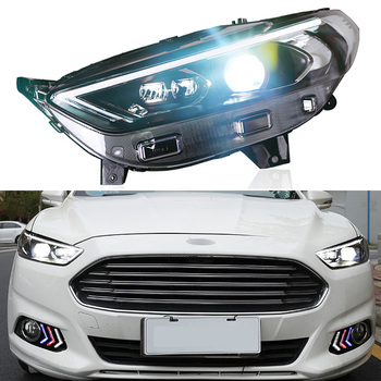 2pcs Head Lamp For Ford Mondeo 2013 - 2016 Fusion LED Head Light LED Bulbs Beam Lens Yellow Turn Signal Lamp