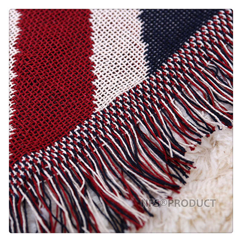 130x180cm Sofa Blanket Cotton Fabric UK & USA Flag Design Knitted Bed Spread Couch Covering Quilt Throws With Tassels 6