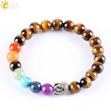 Csja pulseira de oração feminina, pedra natural redonda tigre olho de buda 7 chakra cura mala meditação jóias yoga e329