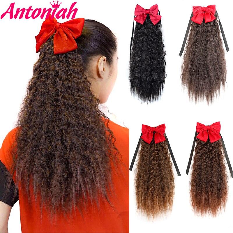 Antoniah Afro uzun Kinky kıvırcık İpli at kuyruğu pençe klibi mısır at kuyruğu saç ekleme ile postiş ilmek at kuyruğu