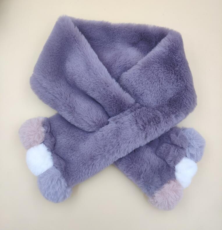 Зимний милый детский шарф, шарфы для мальчиков и девочек, детский шарф с воротником из искусственного меха кролика с помпоном, теплые шарфы - Цвет: purple