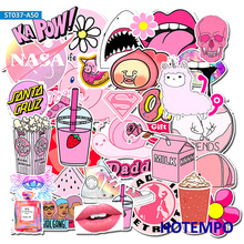 50pcs Vsco Girls Kawaii Pink Fun Sticker for DIY Mobile Phone Laptop Luggage Suitcase Skateboard Fixed Gear Decal Stickers