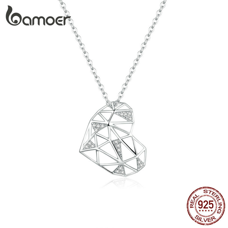 Bamoer Sterling Silver 925 Heart Pendant Necklace For Women Fashion Design Deconstruction Party Jewelry Accessories SCN364