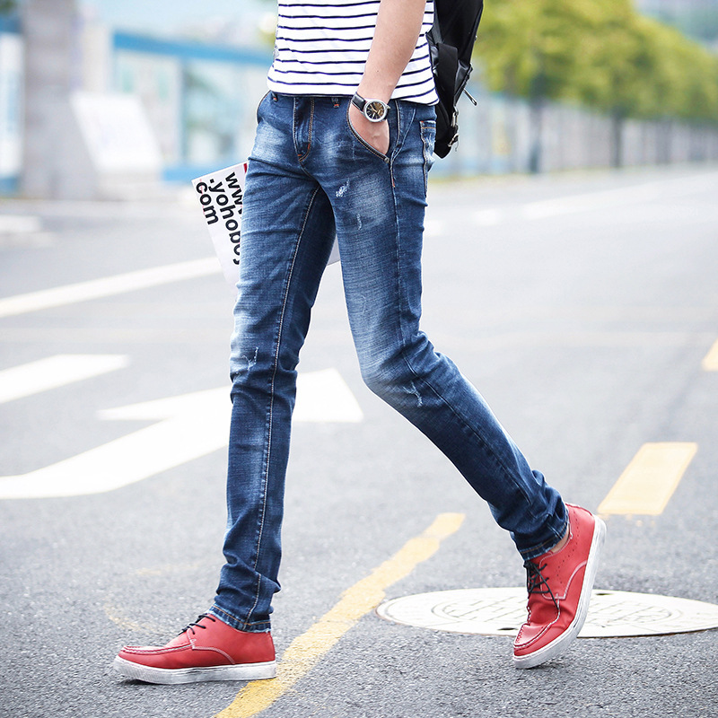 New Style Summer Casual Jeans Young MEN'S Jeans Trousers Korean-style Trend Men's Cowboy Pants Men's Trousers