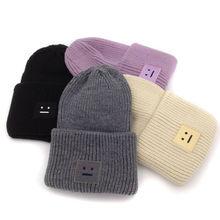 SMILE Embroidery Square Winter Knitted Hats For Women Unisex Men Skull Beanies