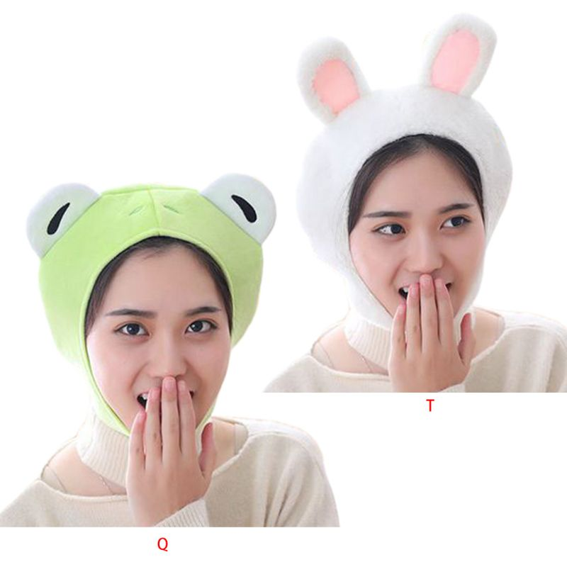 Women Girls Cute Rabbit Frog Animal Earflap Hat Winter Warm Plush Beanie Cap Mask Cosplay Costume Party Supplies Photo Props