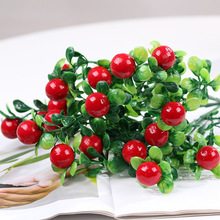 Simulation rich lucky fake flower bouquet fruit indoor red decorative plastic shooting props grass plants greenery