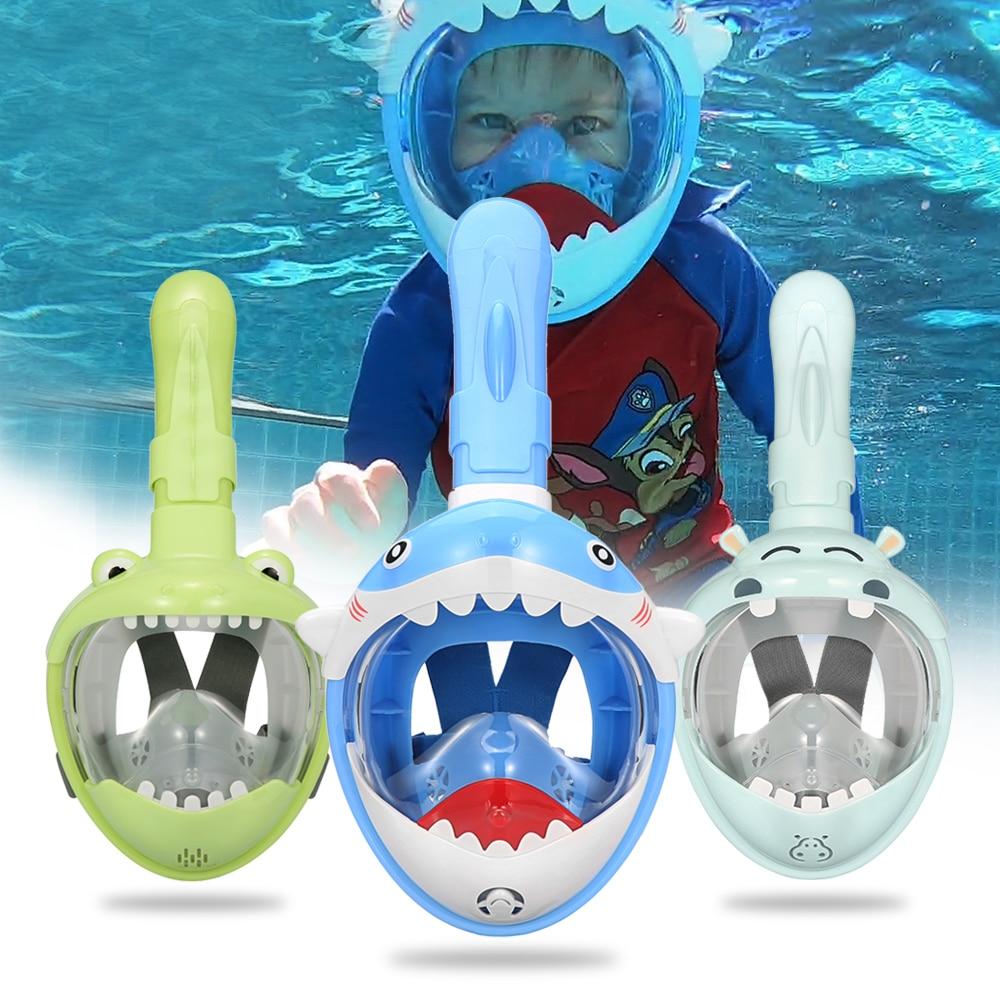 Cartoon Swimming Mask Diving Mask Full Face Snorkeling Mask For Kids Boy Girls Underwater Anti Fog Swimming Goggles Equipment