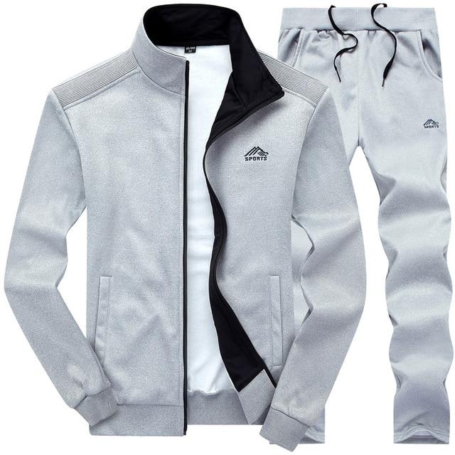 Tracksuits Men Polyester Sweatshirt Sporting Fleece 2020 Gyms Spring Jacket + Pants Casual Men's Track Suit Sportswear Fitness 3
