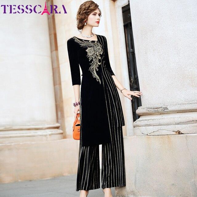 TESSCARA Women Autumn & Winter Elegant Velvet Pant Suit Set Female Vintage Two Piece Set Embroidery Designer Two piece Suits