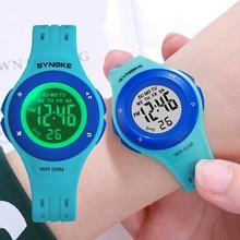 SYNOKE Colorful Led Kids Digital Watch Fashion 5Bar Waterproof Boys Girls Sports Watch Chronograph Alarm Plastic Children Watch