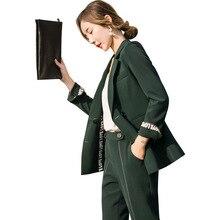 2pcs Pantsuit for Woman Fashion Set Womens New Long Sleeve Jacket Trousers Suit Green 809339+0307