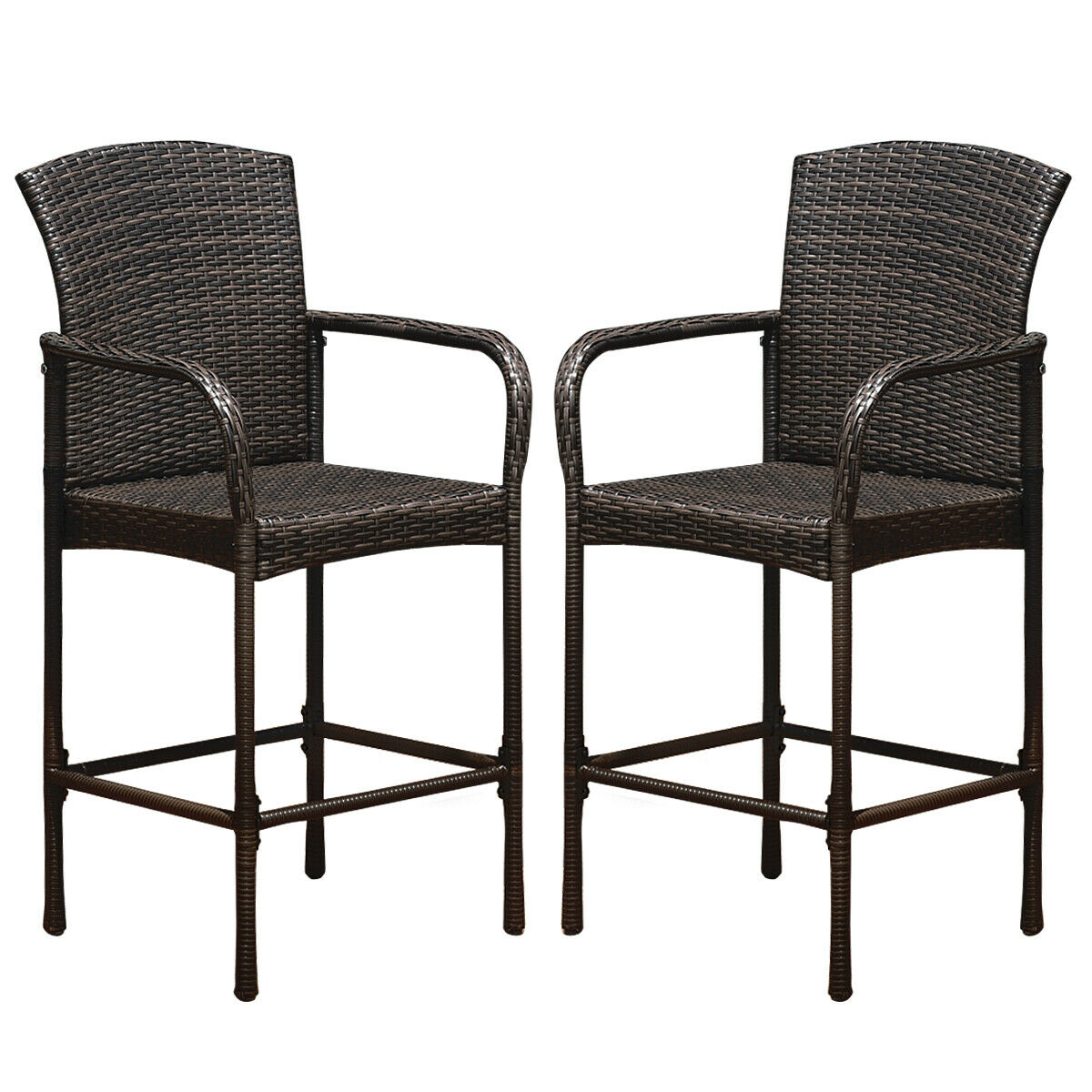 Costway Set Of Two Outdoor Rattan Wicker Bar Chair Seat Patio Furniture With Armrest