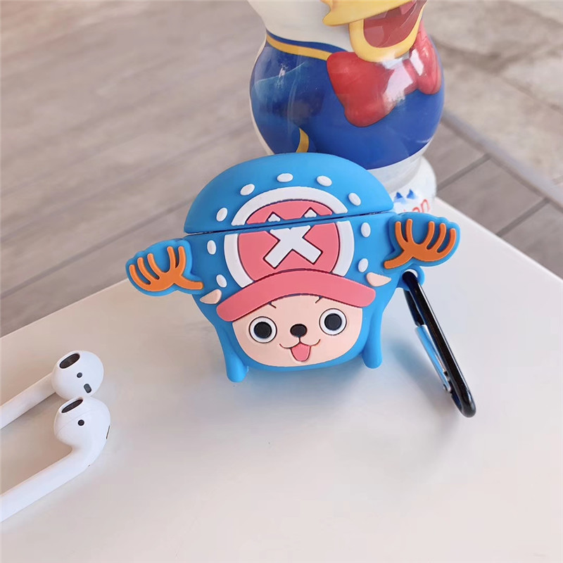 Image 2 - For AirPods Apple Case 3D Cartoon One Piece Headphone Cases For Airpods 1 2 Silicone Case Accessories Protector Cover Keychain-in Earphone Accessories from Consumer Electronics