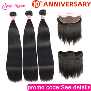 Straight bundles with closure frontal Malaysian hair bundles with forntal non remy closure with bundles 4 bundles with closure(China)