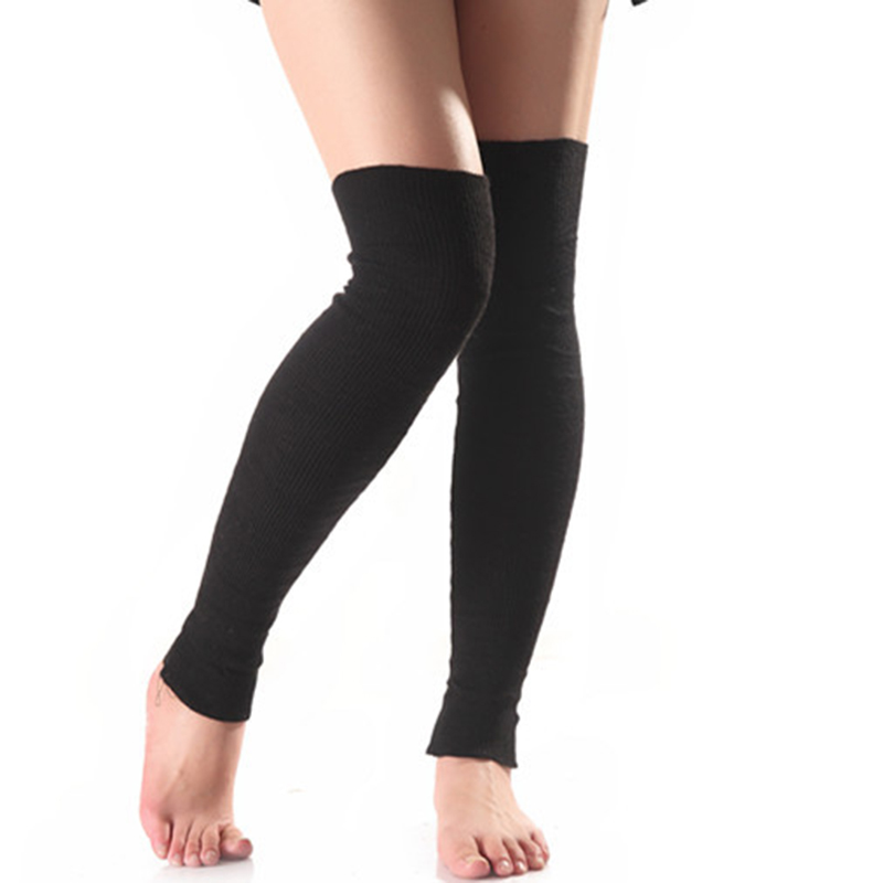 Fashion New Soft Cashmere Long Section Knee Sleeve Stockings Leggings Warm Wool Knitting Women Yoga Leg Sets