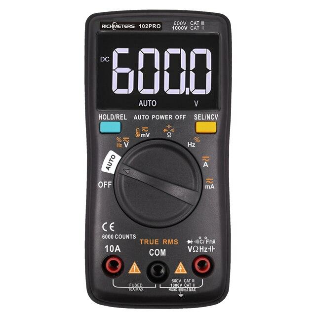 RM101 디지털 멀티 미터 6000 카운트 백라이트 AC/DC 전류계 전압계 옴 휴대용 전압계 RICHMETERS 098/100/109/111