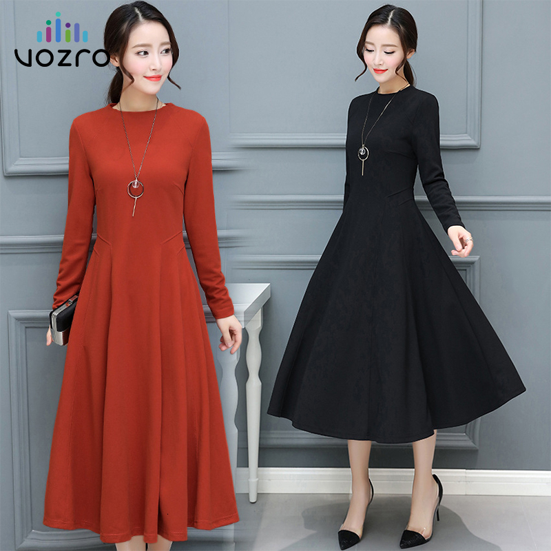 VOZRO Long Sleeve Dress Women Autumn Suit-dress Lady Of Quality Temperament Self-cultivation To Waist Lanky Longuette Vestido