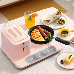 3 In 1 Breakfast Makers Toast Grill Frying Pan Soup Pot Cooking Pot Bread Machine 6 Files Adjust Toaster Oven Omelette Bakery