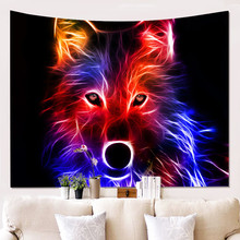 Wolves Holy Animals Tapestry Decoration Wall Hanging Lion Wolf Tiger Pattern Background Wall Tapestry Home Textile snowman pattern wall hanging tapestry