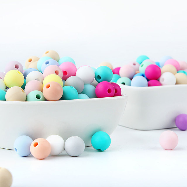 10pcs Silicone Beads 9mm Round Ball Pearl Food Grade PBA Free DIY Pacifier Clip Chain Jewelry Baby Teething Rodent Product Beads 4