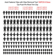 Auto Fastener Clips Plastic Fastener Rivet Clips 190Pcs 6 Sizes Car Push Pin Rivet Trim Clips 190pcs Fastener Clips