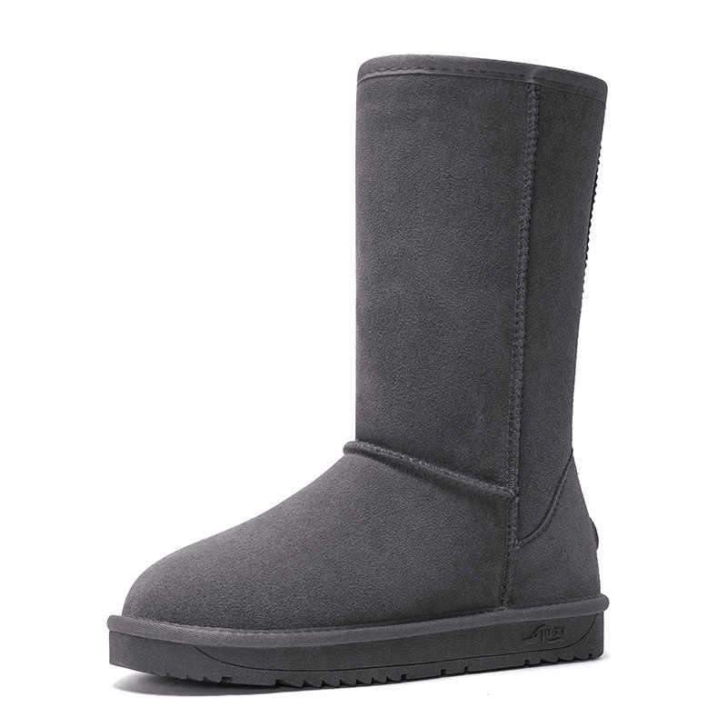 HOT Australian Women Unisex Tall Snow Boots Waterproof Winter Leather Long Boots Brand Winter Warm Outdoor Shoes Size EU 35-40
